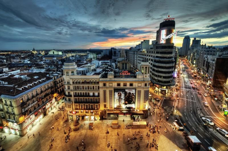 Madrid Gran Via evening after dark