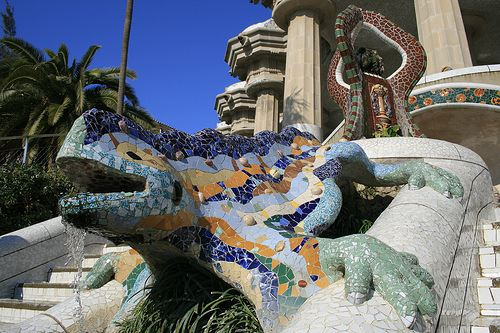 Parc Güell Barcelona Spain fee entry charging Gaudi 2013 2014 gardens in spain