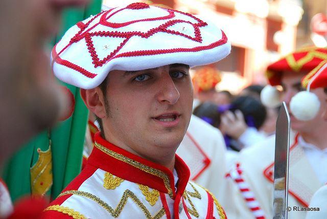 Pamplona San Fermin Bullrunning festival streets red white