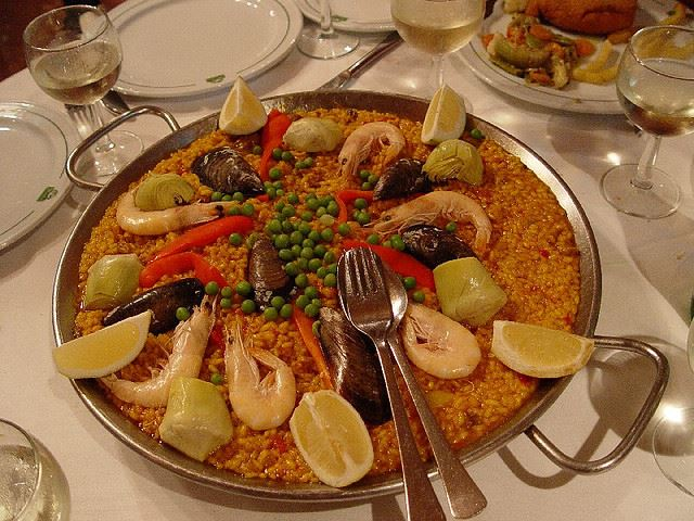 paella lemon table Spain restaurant