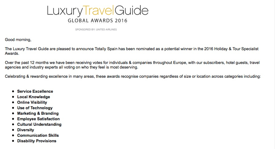 Travel Awards Nominations Magazine Europe Totally Spain