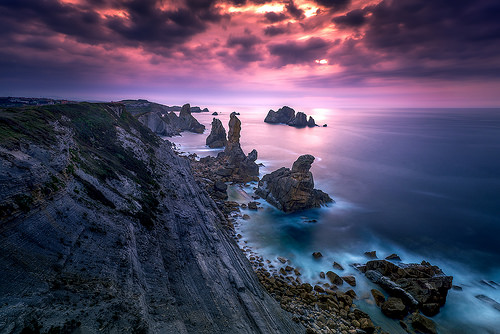 beach coast sunset Liencres Cantabria Spain