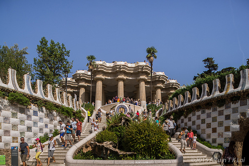 Gaudi architecture park Barcelona Catalonia Spain