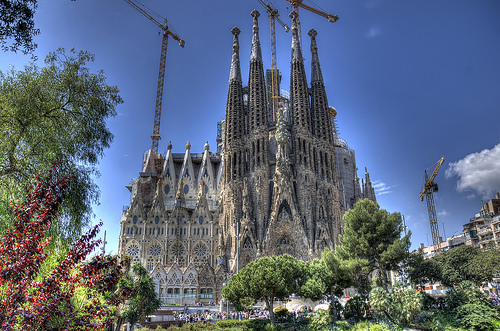 Gaudi architecture cathedral Barcelona Catalonia Spain