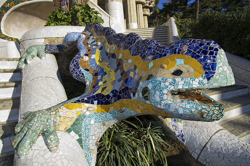 Chameleon animal architecture trencadis mosaics Gaudi Barcelona Catalonia Spain