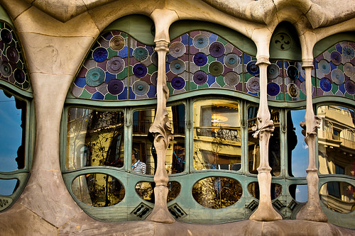 Architect Gaudi Barcelona Catalonia Spain window Battlo