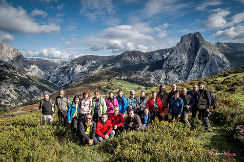 group walkers mountains Cabanes hikers Cantabria Spain