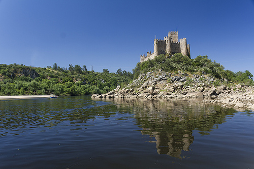 castle Castelo water river granite moat portugal