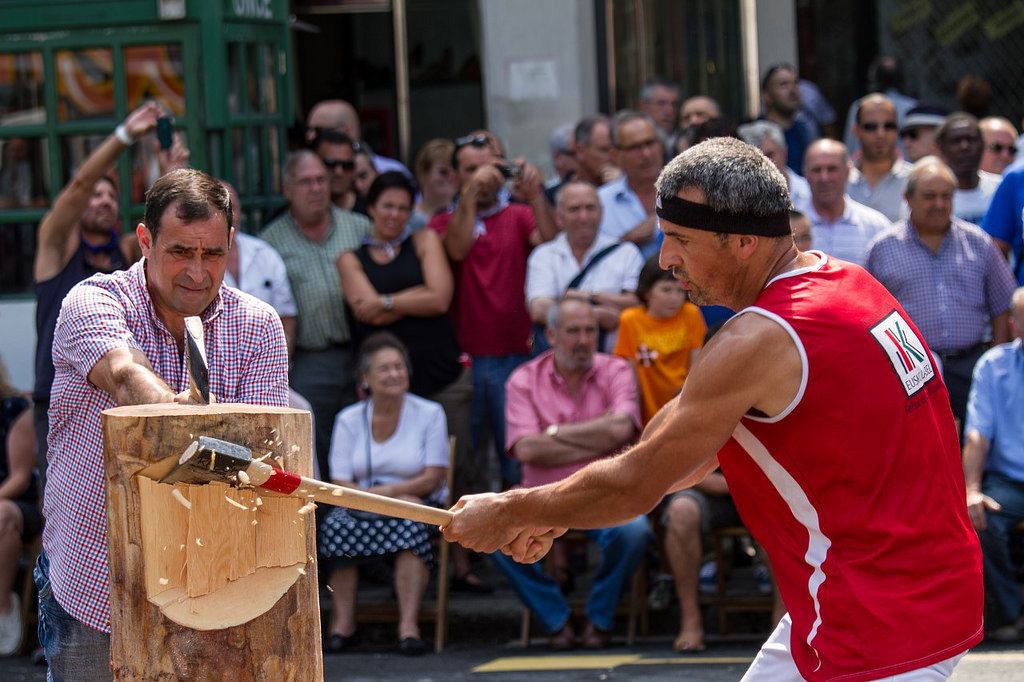 Basque rural sports Bilbao demonstration axe cutting