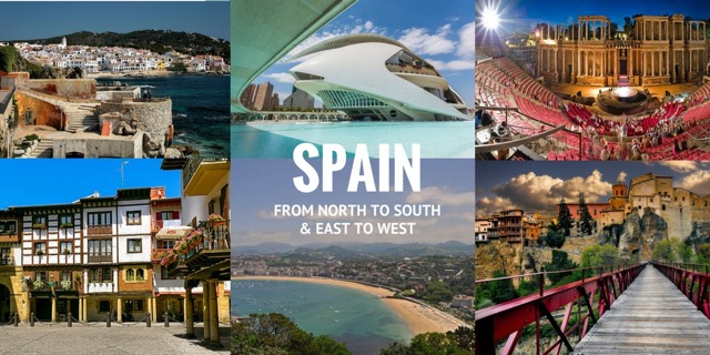 Spain from North to South and East to West
