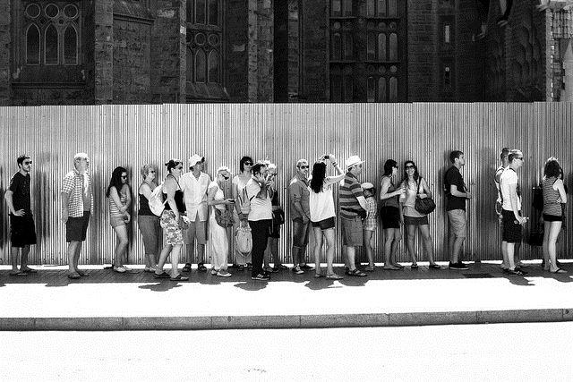 queue line Barcelona Gaudi pre-book Spain